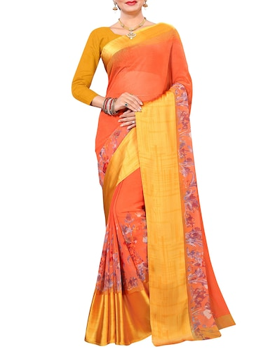 floral printed saree with blouse - 15727112 - Standard Image - 1