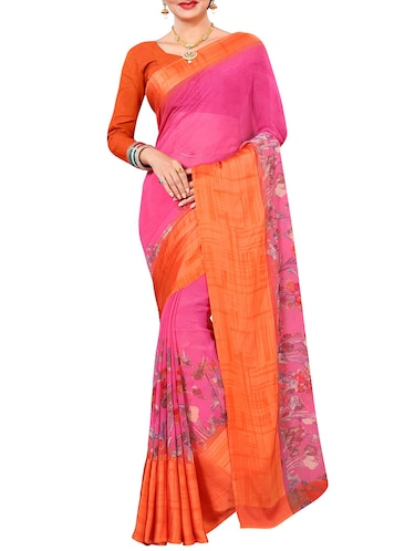 floral printed saree with blouse - 15727113 - Standard Image - 1