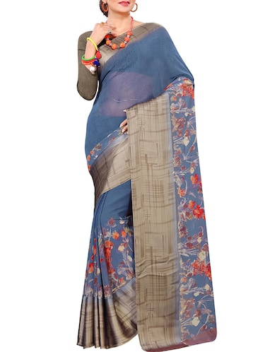floral printed saree with blouse - 15727115 - Standard Image - 1