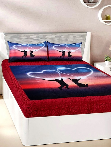 Velvet Double Bedsheet with 2 Pillow Covers - 15727233 - Standard Image - 1