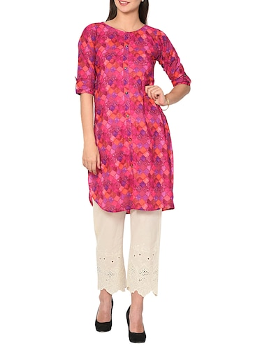 Printed high low kurta - 15727411 - Standard Image - 1