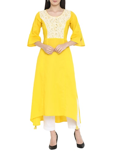High low net yoke kurta - 15727469 - Standard Image - 1