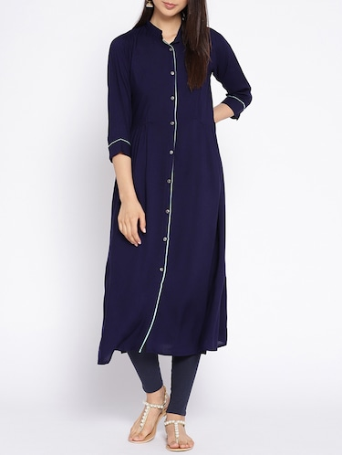 A-line piping solid kurta - 15727470 - Standard Image - 1