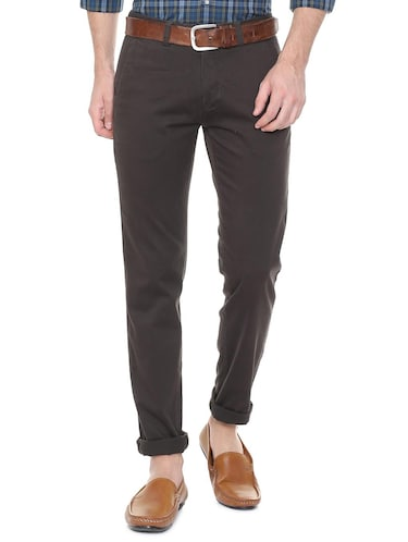 brown cotton blend chinos - 15727661 - Standard Image - 1