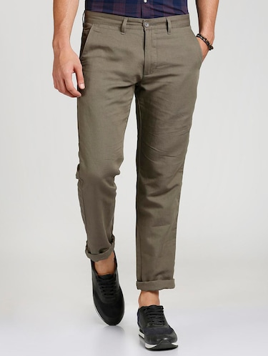 grey cotton blend chinos - 15727668 - Standard Image - 1