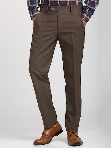 brown polyester blend flat front trousers formal - 15727697 - Standard Image - 1