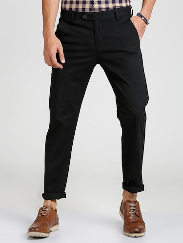 black cotton blend chinos - 15727701 - Standard Image - 1