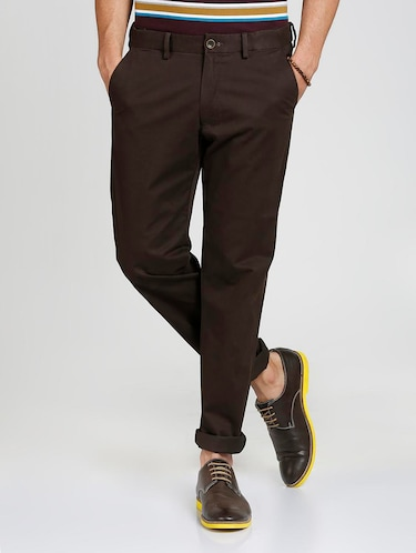 brown cotton blend chinos - 15727702 - Standard Image - 1