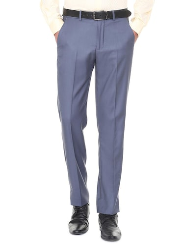 blue terry rayon flat front  formal trouser - 15727731 - Standard Image - 1