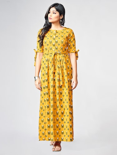 Printed a-line ethnic dress - 15727824 - Standard Image - 1