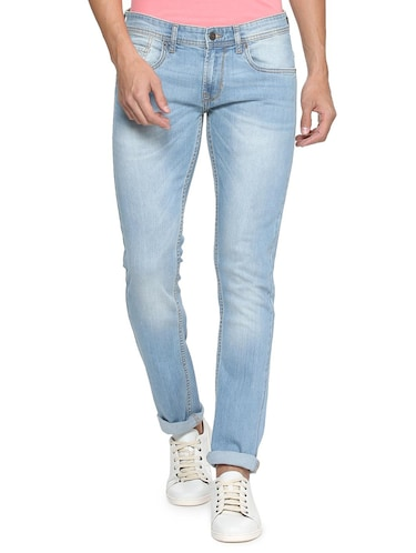 blue cotton blend washed jeans - 15728247 - Standard Image - 1