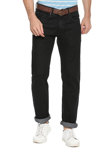 black cotton blend plain jeans - 15728248 - Standard Image - 1