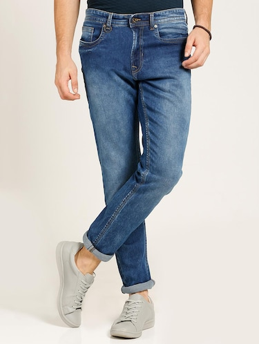 blue cotton blend washed jeans - 15728263 - Standard Image - 1