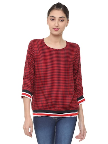 button detail checkered top - 15728403 - Standard Image - 1