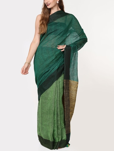 color block linen handloom saree with blouse - 15728558 - Standard Image - 1