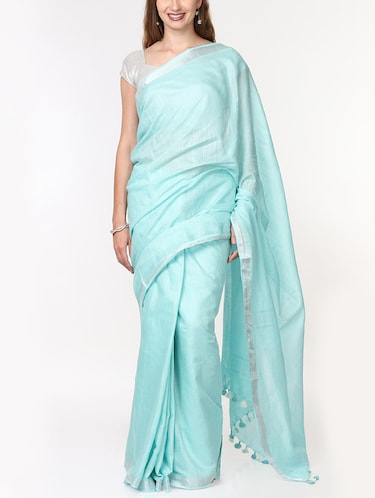 solid handloom saree with blouse - 15728571 - Standard Image - 1