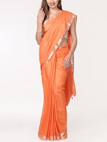 solid handloom saree with blouse - 15728573 - Standard Image - 1
