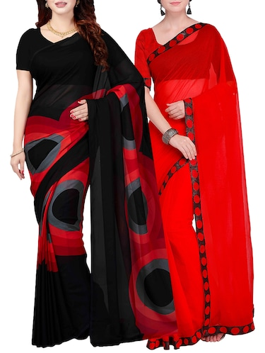Combo Of 2 Multicolor Printed Saree with blouse - 15728697 - Standard Image - 1