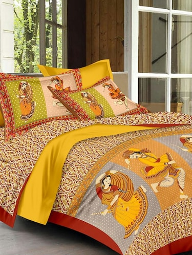 Jaipuri Print Cotton Double Bedsheet with Set of 2 Pillow Covers - 15728753 - Standard Image - 1