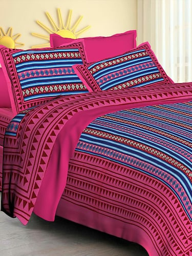 Jaipuri Print Cotton Double Bedsheet with Set of 2 Pillow Covers - 15728787 - Standard Image - 1
