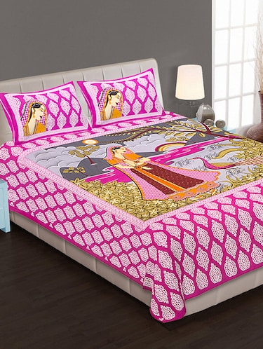 Jaipuri Print Cotton Double Bedsheet with Set of 2 Pillow Covers - 15728802 - Standard Image - 1
