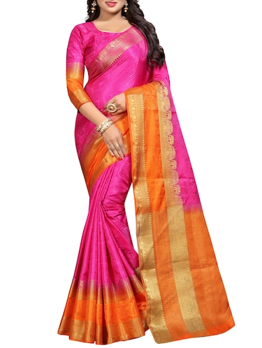 contrast zari border banarasi saree with blouse - 15728874 - Standard Image - 1