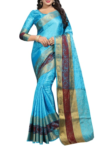 conversational zari motif banarasi saree with blouse - 15728877 - Standard Image - 1