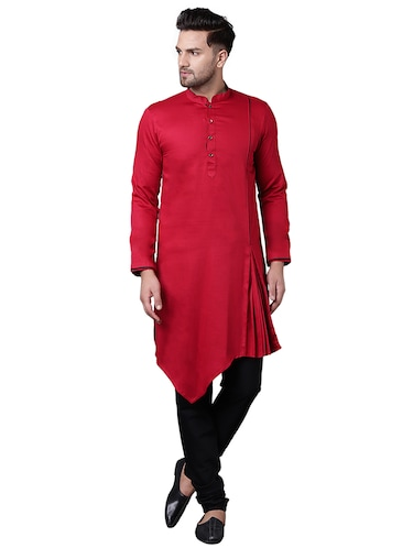 red cotton asymmetric kurta pyjama set - 15729234 - Standard Image - 1