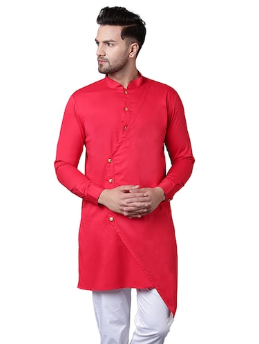 red cotton asymmetric kurta - 15729274 - Standard Image - 1