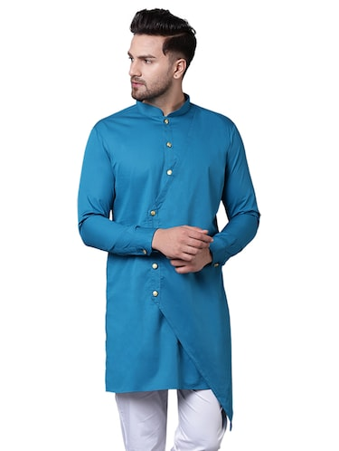 blue cotton asymmetric kurta - 15729275 - Standard Image - 1