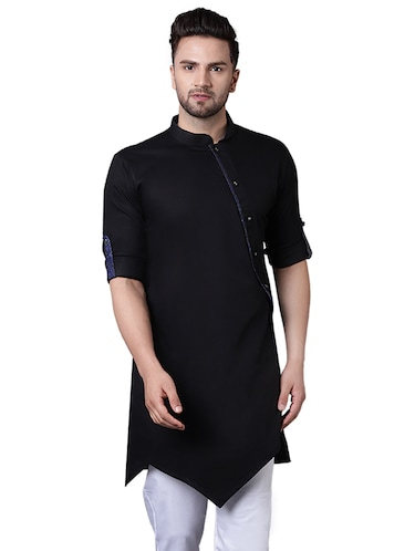 black cotton asymmetric kurta - 15729285 - Standard Image - 1