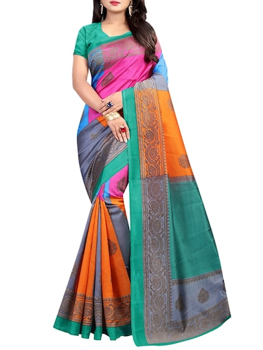 color block printed saree with blouse - 15729404 - Standard Image - 1