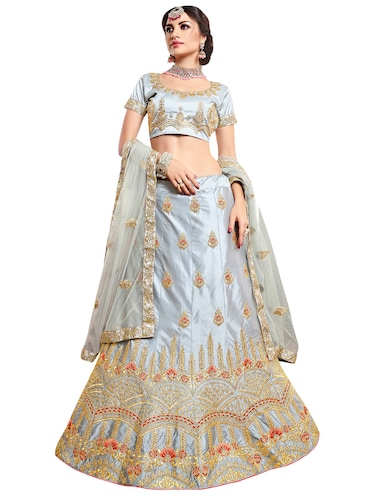 Gold embroidered a-line lehenga - 15729422 - Standard Image - 1