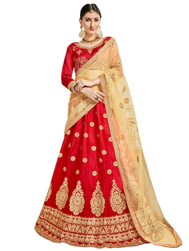 Gold embroidered a-line lehenga - 15729429 - Standard Image - 1