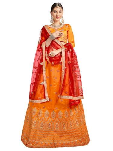 Gold embroidered a-line lehenga - 15729433 - Standard Image - 1