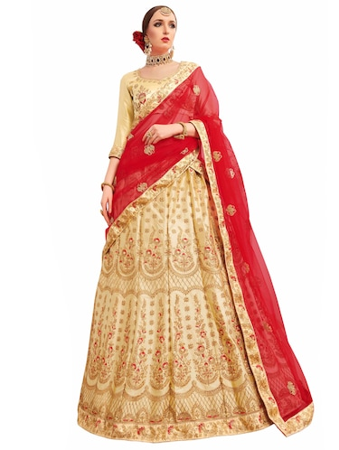 Gold embroidered a-line lehenga - 15729437 - Standard Image - 1