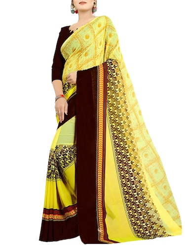 geometrical printed saree with blouse - 15729443 - Standard Image - 1