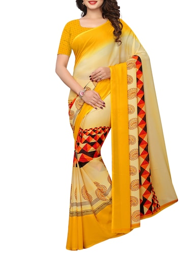 geometrical printed saree with blouse - 15729578 - Standard Image - 1