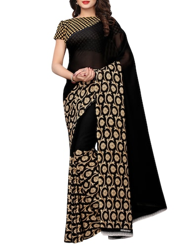floral printed saree with blouse - 15729581 - Standard Image - 1
