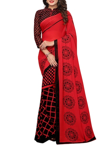 geometrical printed half & half saree with blouse - 15729582 - Standard Image - 1