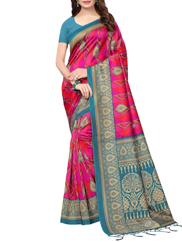 geometrical printed saree with blouse - 15729583 - Standard Image - 1