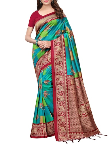 conversational printed saree with blouse - 15729595 - Standard Image - 1