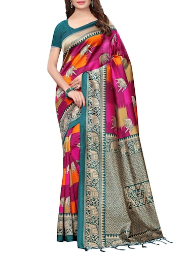 conversational printed saree with blouse - 15729596 - Standard Image - 1