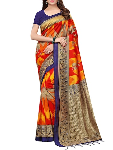 conversational printed saree with blouse - 15729601 - Standard Image - 1