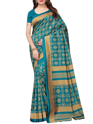 floral turquoise printed saree with blouse - 15729611 - Standard Image - 1