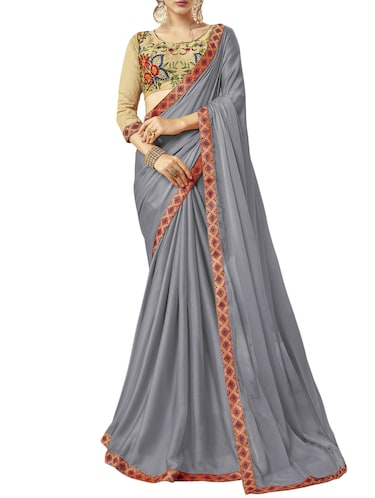 embroidered lace border saree with blouse - 15729619 - Standard Image - 1
