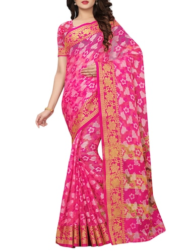 floral woven saree with blouse - 15729629 - Standard Image - 1