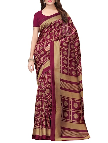 floral printed saree with blouse - 15729657 - Standard Image - 1