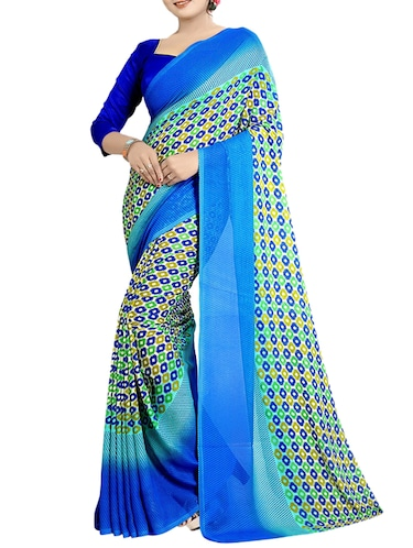 geometrical printed saree with blouse - 15729723 - Standard Image - 1
