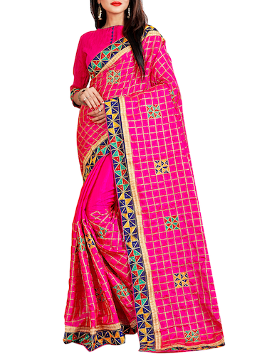 geometrical resham embroidered saree with blouse - 15729725 - Standard Image - 1